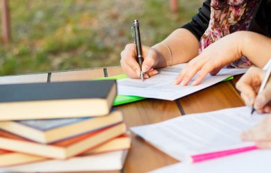 female student outside writing personal statement
